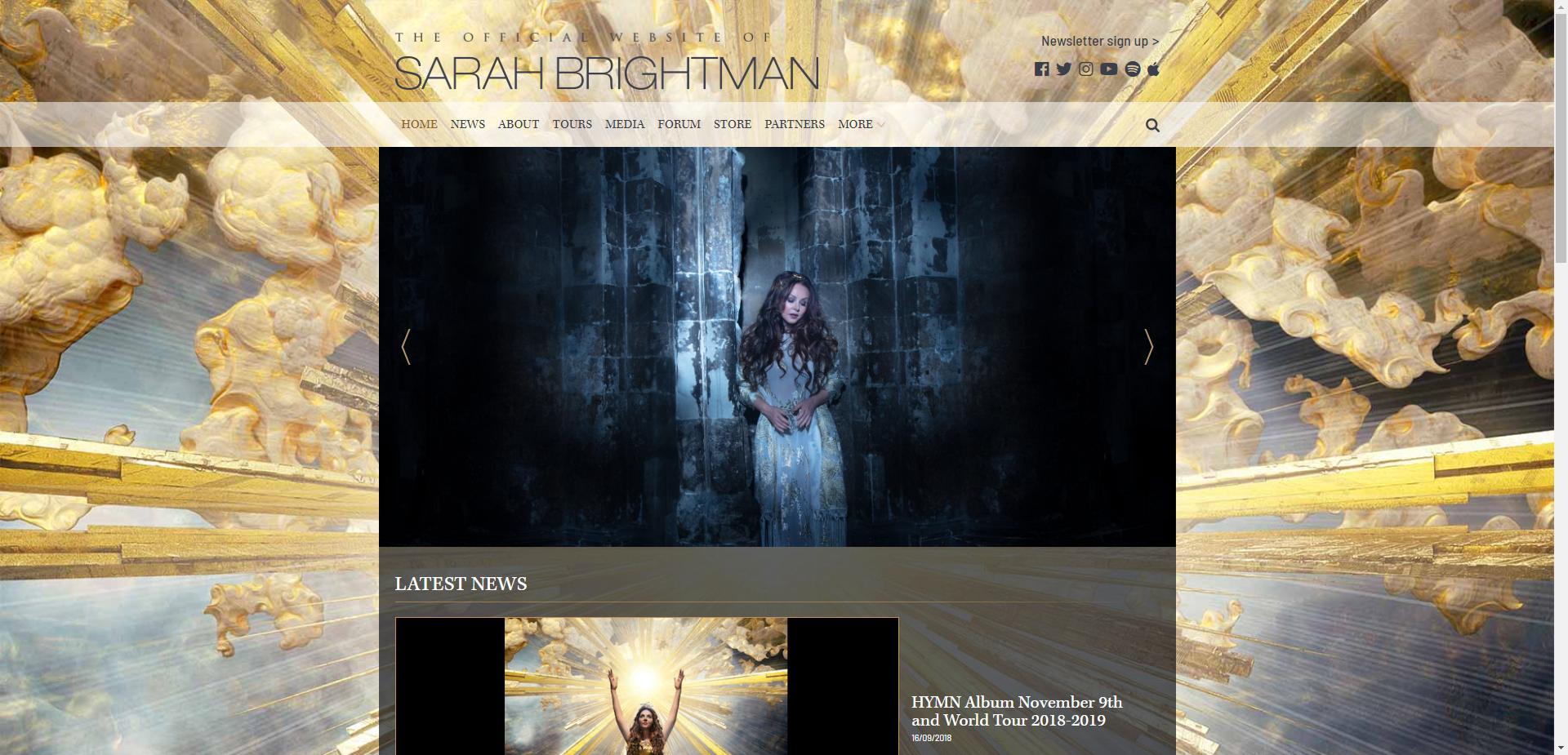 Новый дизайн официального сайта Сары Братйман.